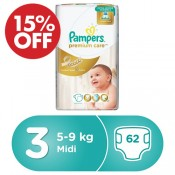 Pampers Premium Care No.3 62 Diaper 15% OFF