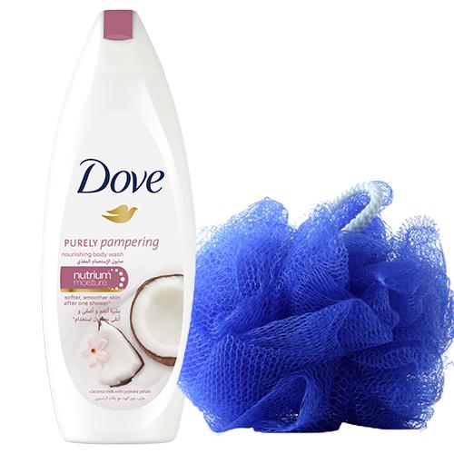 Dove Purely Pampering With Coconut Milk & Jasmine Petals Body Wash 250 ml + Loofah